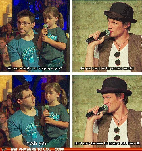 best of the week,cute,doctor who,fight,little girl,Matt Smith,q and a,question,scared,sweet,the doctor,weeping angels