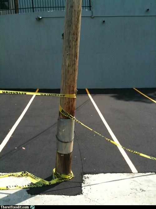 caution tape parking telephone pole - 6432408064