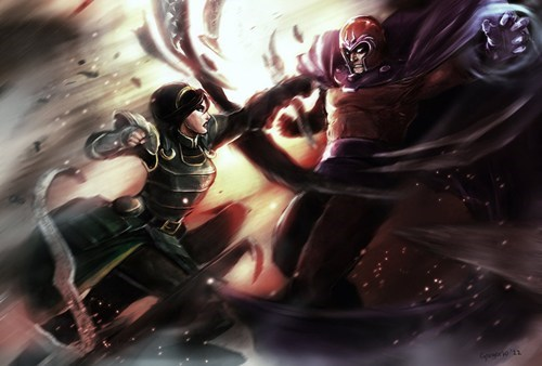 korra,crossover,Fan Art,fandom,Magneto,superheroes,toph,x men