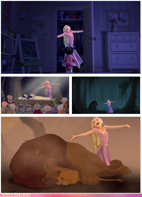 animation,disney,funny,Movie,rapunzel,snow white,tangled,the frog prince,the lion king