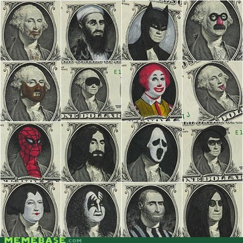 batman,dollar,dollar bill,IRL,one dollar,Ronald McDonald,Spider-Man