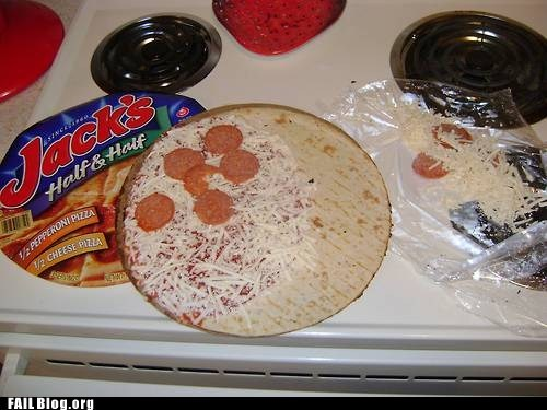 frozen pizza half and half pepperoni