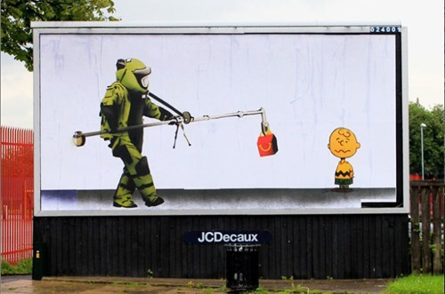 advertising protest,banksy,brandalism,olympic protest,subvertising
