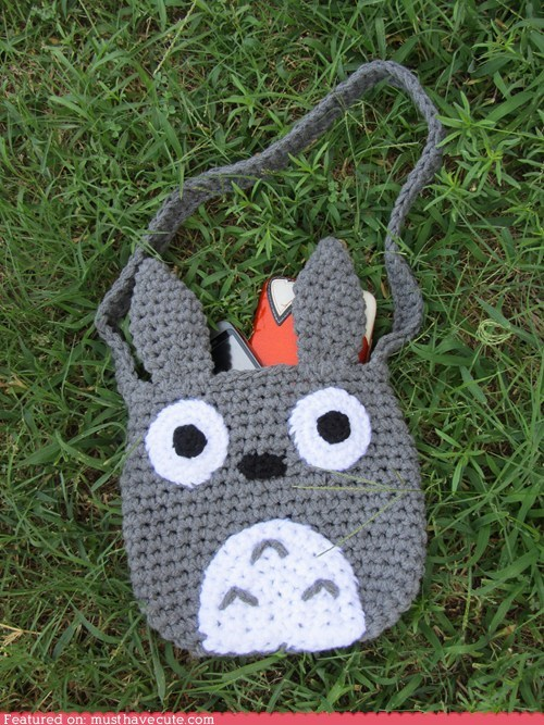 bag,Crocheted,grey,tote,totoro