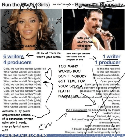 beyoncé,bohemian rhapsody,freddie mercury,genius,lyrics,queen