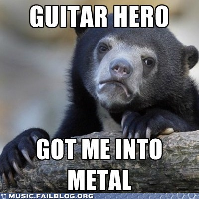 Confession Bear,Guitar Hero,meme,metal