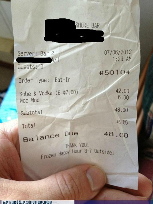 bar receipt vodka woo - 6434189824