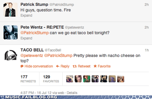 fall out boy,patrick stump,taco bell,twitter