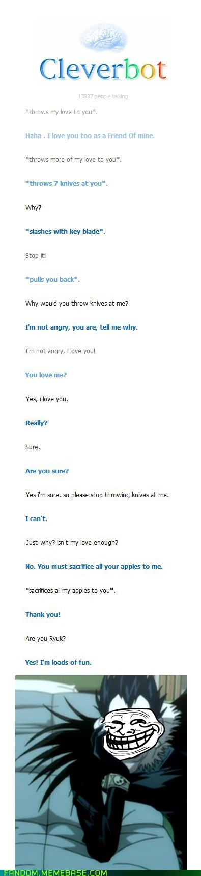 anime Cleverbot death note It Came From the It Came From the Interwebz manga ryuk - 6434680576