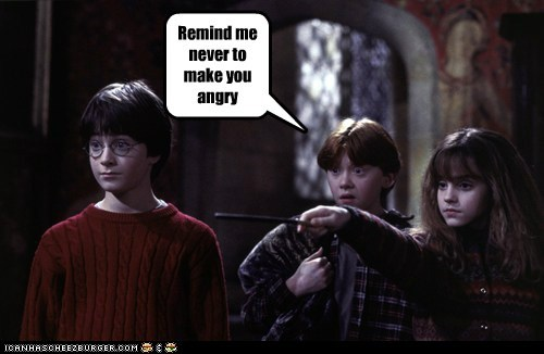 angry Daniel Radcliffe emma watson Harry Potter hermione granger Ron Weasley rupert grint scared - 6434749696