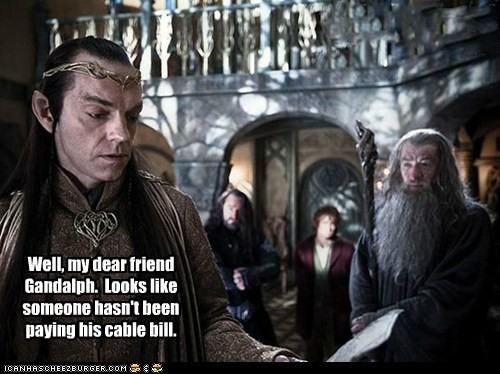 Bilbo Baggins,cable bill,elrond,embarrassed,gandalf,Hugo Weaving,ian mckellen,Martin Freeman,The Hobbit,wizard