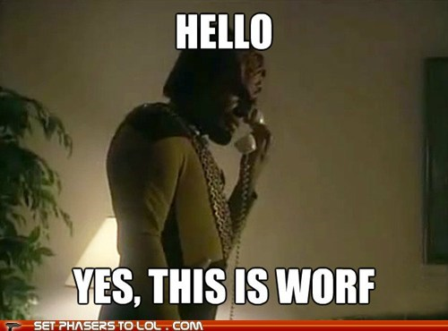 hello yes this is dog meme Michael Dorn phone Star Trek TNG Worf