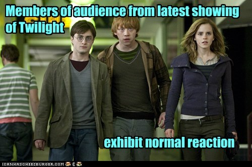 Members of audience from latest showing of Twilight exhibit normal reaction