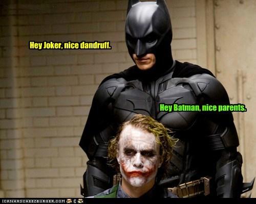 batman bruce wayne christian bale dandruff heath ledger insult parents the dark knight the joker - 6435522304