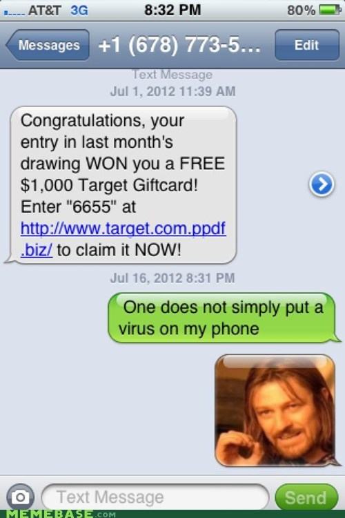 Memes one does not simply spam text