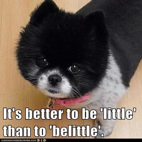 It's better to be 'little' than to 'belittle'.