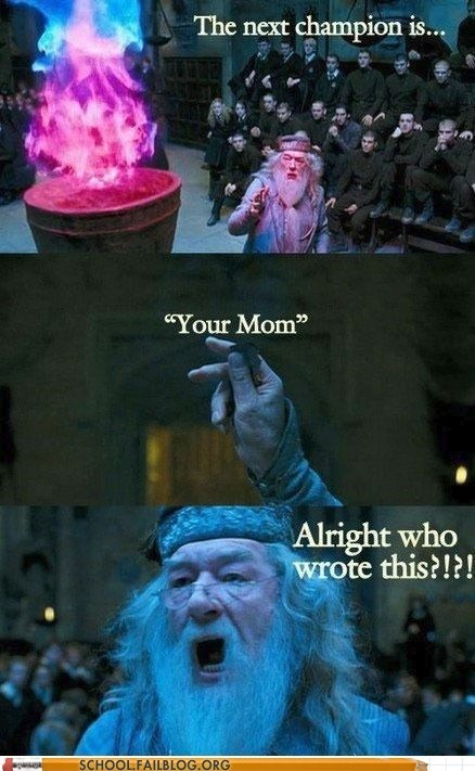dumbledore Harry Potter the Goblet of Fire the goblet of trolls your mom