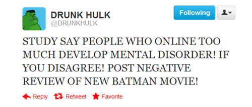 batman,Drunk Hulk,the dark knight rises,twitter
