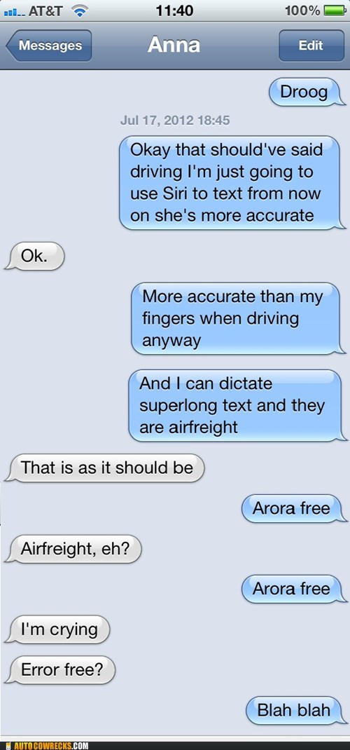 autocorrected,AutocoWrecks,g rated,siri,texting and driving,voice commands