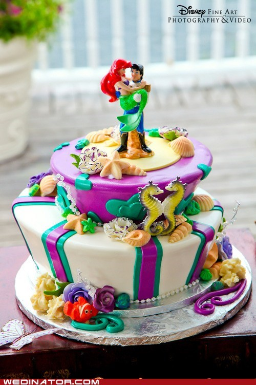 ariel,disney,funny wedding photos,little mermaid,wedding cakes
