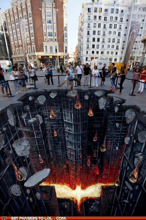 3d,batman,batman symbol,madrid,Street Art,the dark knight rises