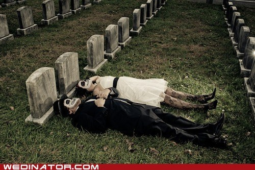 bride,Day Of The Dead,funny wedding photos,graveyard,groom,skeletons