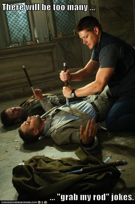 dean winchester grab jensen ackles jokes rod Supernatural too many games - 6437265920