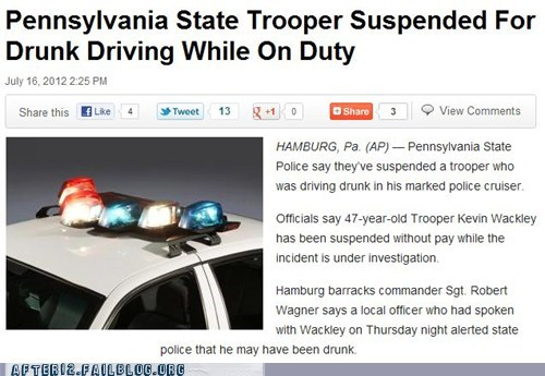 booze news cops drunk driving dui dwi highway patrol officer pennsylvania police policeman drunk driving sheriff