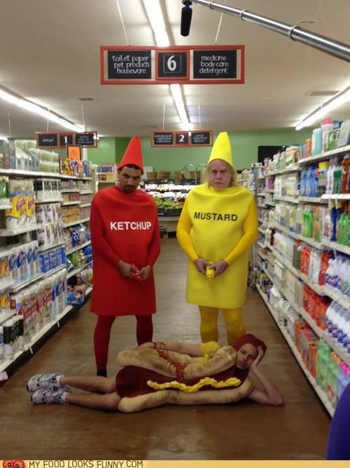 costume,hotdog,ketchup,mustard,squirt