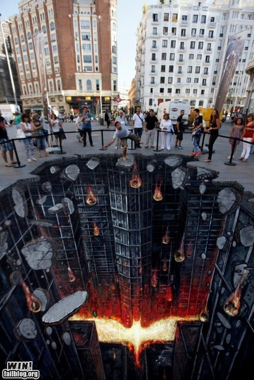 batman,best of week,chalk art,comic books,Dark Knight Rises,g rated,Hall of Fame,illusion,Street Art,super heroes,win