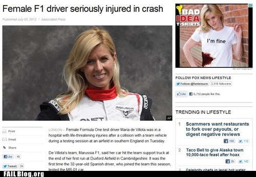 ad placement,car crash,im-fine,racecar driver