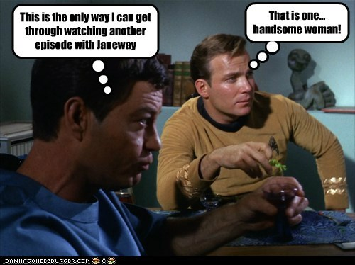 captain janeway Captain Kirk DeForest Kelley drinking episode handsome McCoy Shatnerday Star Trek voyager William Shatner woman - 6437941504