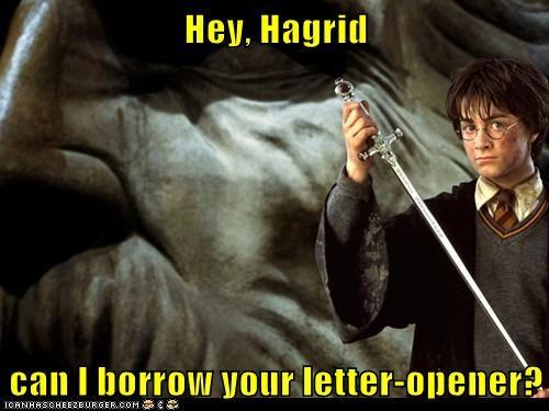 borrow Daniel Radcliffe giant gryffindor Hagrid harry Harry Potter letter opener sword - 6437955584