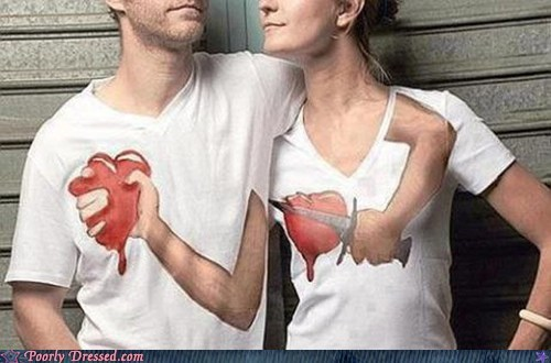 clever design heart ouch shirt stab