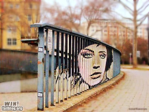 art,fence,perspective,portrait,Street Art