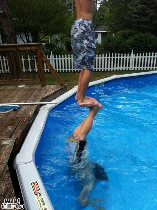 balance,dangerous,floating,pool,stunt