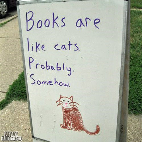 analogy,books,Cats,comparison,reading,sign