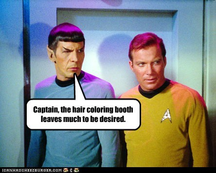 disappointed,Hair Coloring,Leonard Nimoy,Shatnerday,Spock,Star Trek,William Shatner