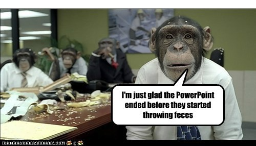 chimps meeting Office powerpoint suits throwing poop - 6438803968