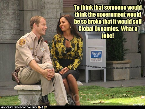 allison blake,broke,cancelled,Colin Ferguson,eureka,global dynamics,government,jack carter,laughing,never,Sad,salli richardson-whitfiel,salli richardson-whitfield