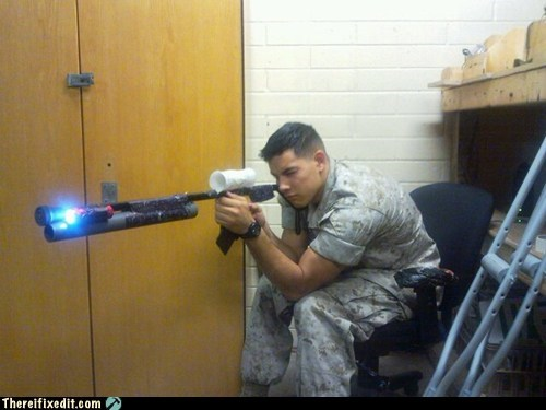 army,flashlight,military,pvc pipe,sniper rifle