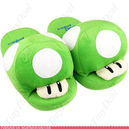 mario mushroom Plush slippers soft - 6439127808