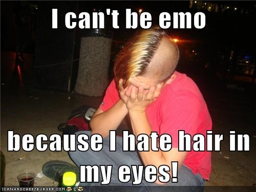 emo hair,emolulz,eyes,First World Problems,lazy eye