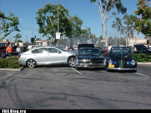 car accident classic cars parking lot - 6439936000