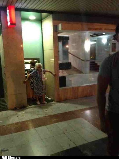 ATM,old lady,pin number