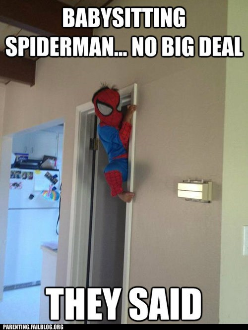 babysitting,climbing up the walls,doorway,Spider-Man