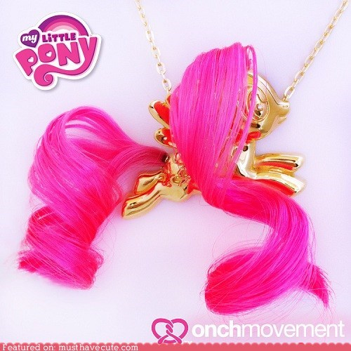 Bling gold hair mlpfim necklace pendant pink - 6440111872