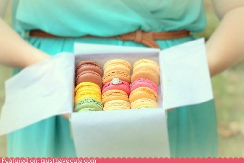 box,cookies,engagement ring,epicute,macarons