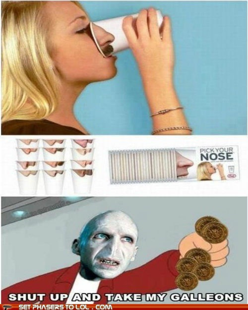 cup,fry,funny,futurama,Harry Potter,nose,pick,shut up and take my money,voldemort