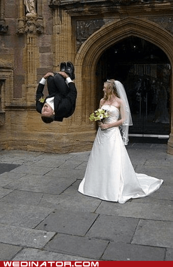 bride,cannonball,funny wedding photos,groom,jump